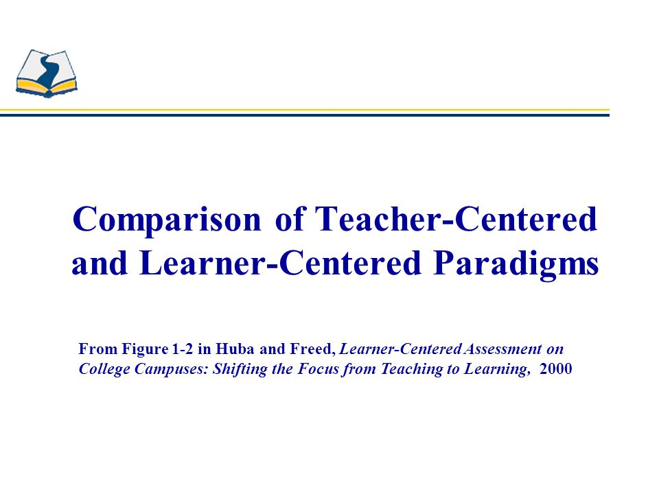 Comparison of Paradigms Teacher-Centered Learner-Centered Focus is on a single discipline.