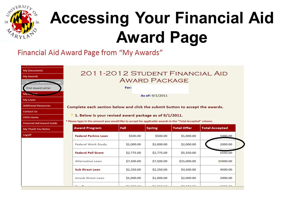 """Accessing Your Financial Aid Award Page Financial Aid Award Page from """"My Awards"""""""