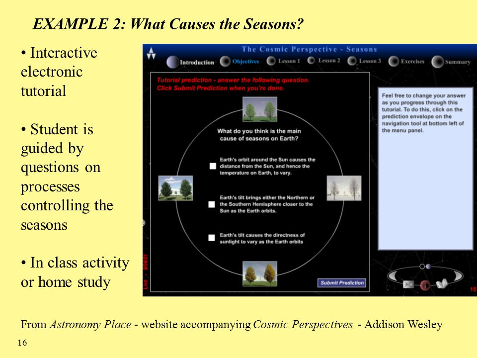 16 EXAMPLE 2: What Causes the Seasons.