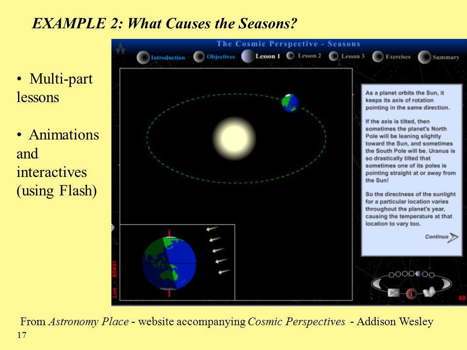 17 EXAMPLE 2: What Causes the Seasons.