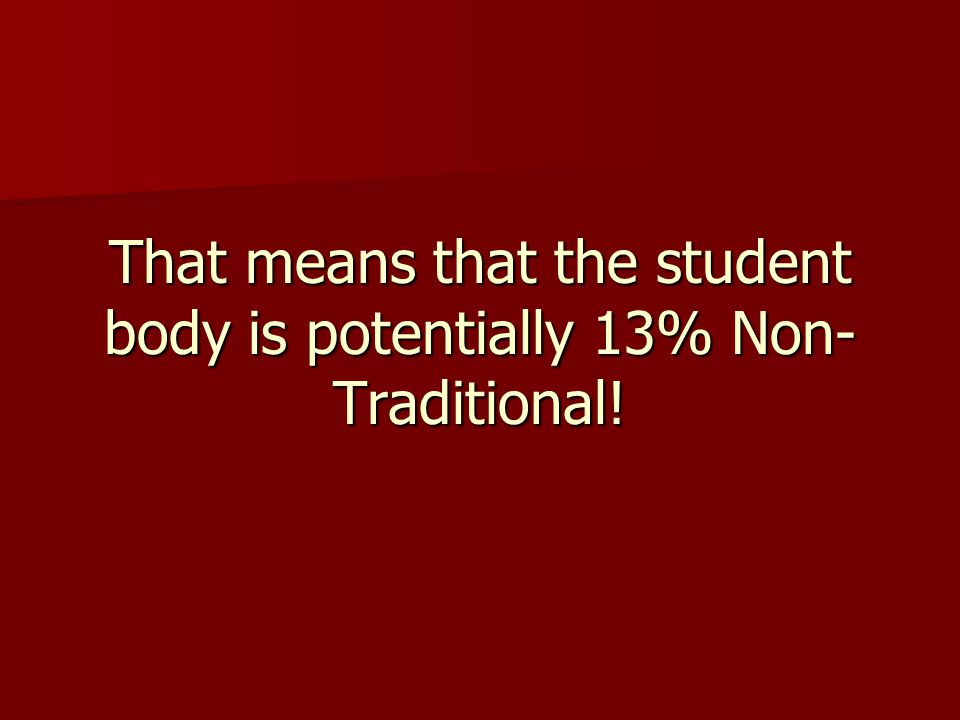 That means that the student body is potentially 13% Non- Traditional!