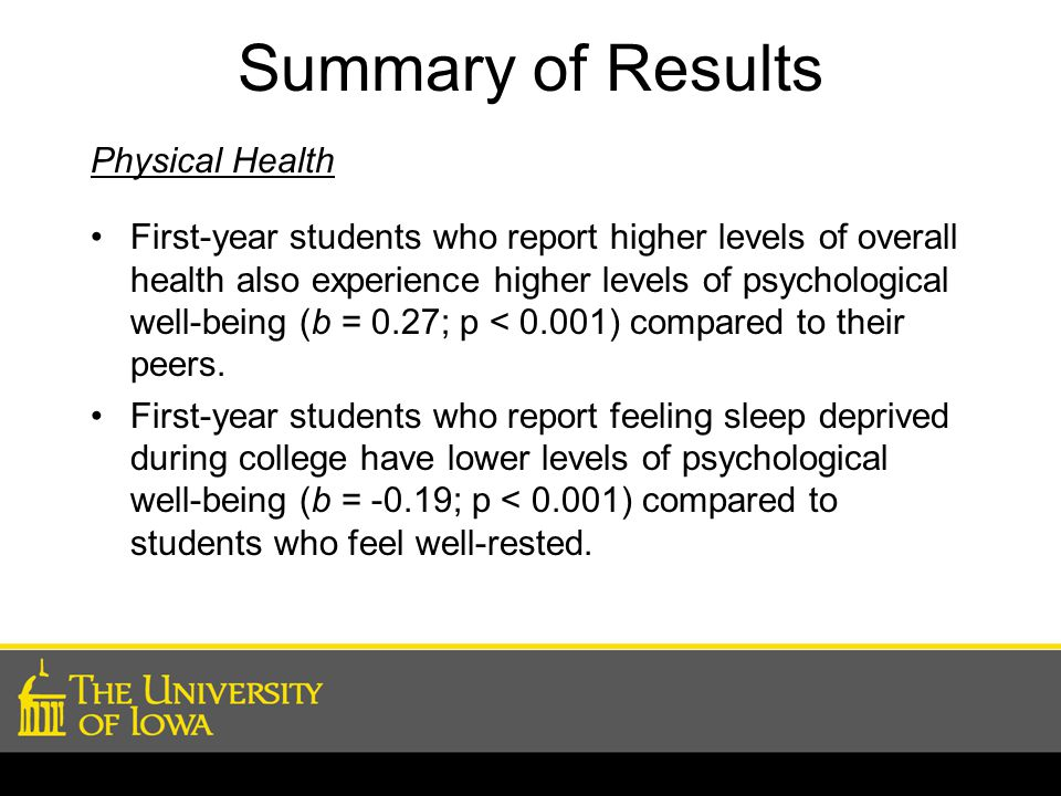 Summary of Results Physical Health First-year students who report higher levels of overall health also experience higher levels of psychological well-being (b = 0.27; p < 0.001) compared to their peers.