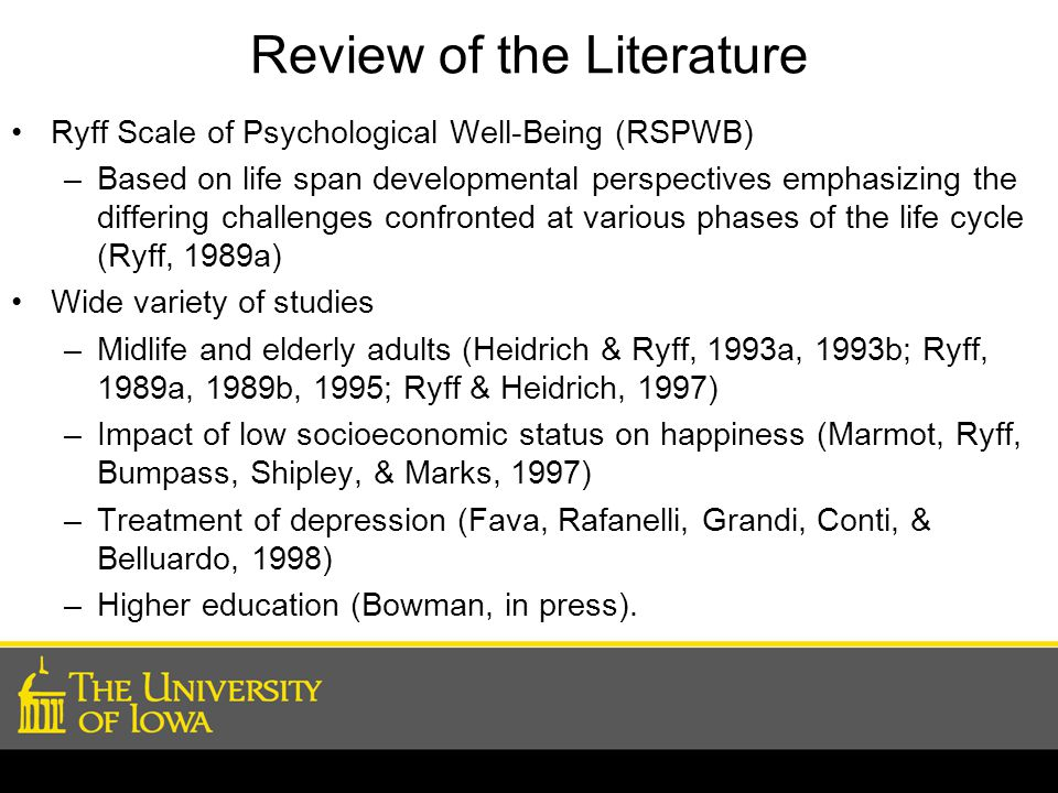 Review of the Literature Ryff Scale of Psychological Well-Being (RSPWB) –Based on life span developmental perspectives emphasizing the differing challenges confronted at various phases of the life cycle (Ryff, 1989a) Wide variety of studies –Midlife and elderly adults (Heidrich & Ryff, 1993a, 1993b; Ryff, 1989a, 1989b, 1995; Ryff & Heidrich, 1997) –Impact of low socioeconomic status on happiness (Marmot, Ryff, Bumpass, Shipley, & Marks, 1997) –Treatment of depression (Fava, Rafanelli, Grandi, Conti, & Belluardo, 1998) –Higher education (Bowman, in press).