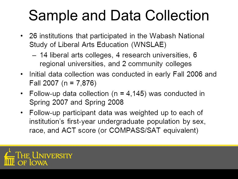 Sample and Data Collection 26 institutions that participated in the Wabash National Study of Liberal Arts Education (WNSLAE) –14 liberal arts colleges, 4 research universities, 6 regional universities, and 2 community colleges Initial data collection was conducted in early Fall 2006 and Fall 2007 (n = 7,876) Follow-up data collection (n = 4,145) was conducted in Spring 2007 and Spring 2008 Follow-up participant data was weighted up to each of institution's first-year undergraduate population by sex, race, and ACT score (or COMPASS/SAT equivalent)