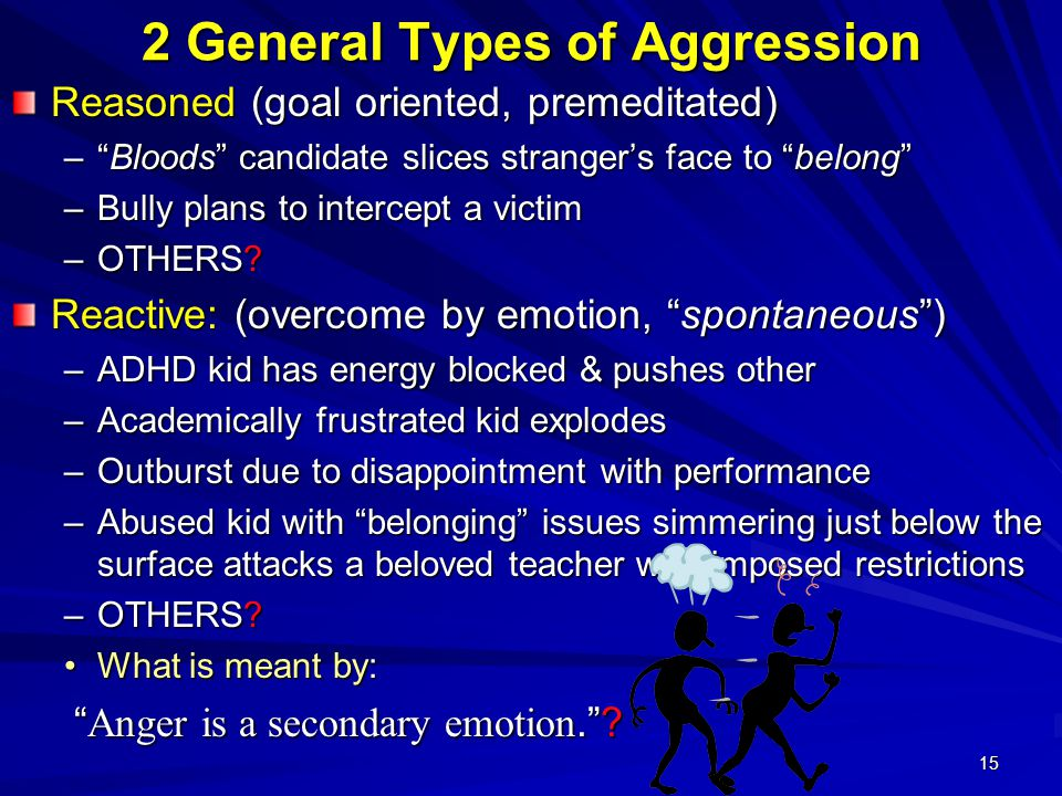 15 2 General Types of Aggression Reasoned (goal oriented, premeditated) – Bloods candidate slices stranger's face to belong –Bully plans to intercept a victim –OTHERS.