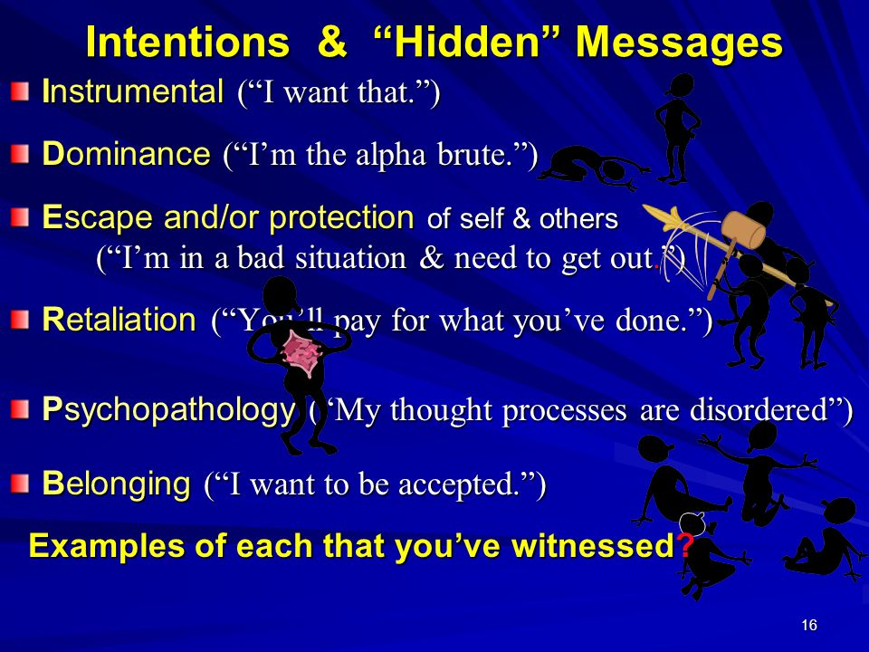 "16 Intentions & ""Hidden"" Messages Instrumental (""I want that."") Dominance (""I'm the alpha brute."") Escape and/or protection of self & others (""I'm in"