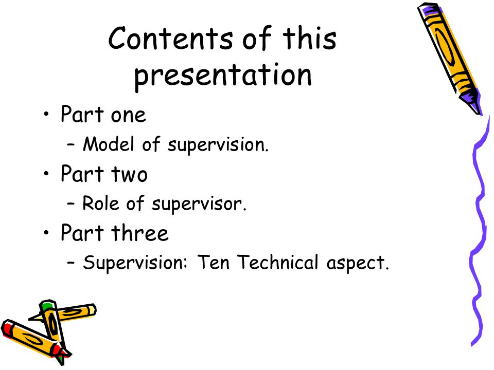 Contents of supervision.Look for the following few questions: 1.