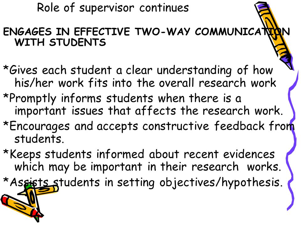 Role of supervisor continues ENGAGES IN EFFECTIVE TWO-WAY COMMUNICATION WITH STUDENTS *Gives each student a clear understanding of how his/her work fi