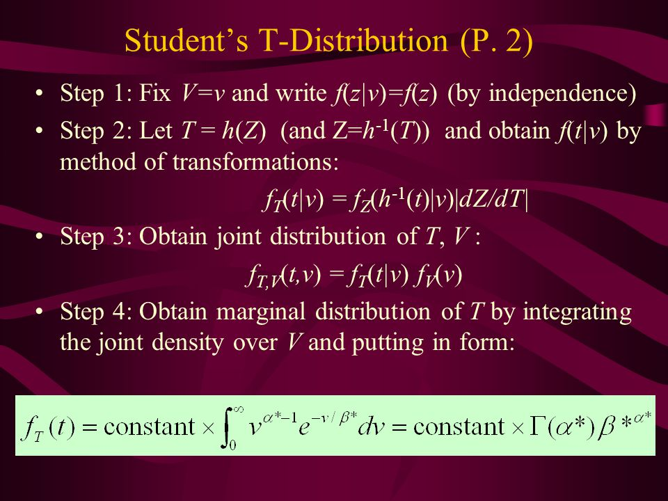 Student's T-Distribution (P. 2) Step 1: Fix V=v and write f(z|v)=f(z) (by independence) Step 2: Let T = h(Z) (and Z=h -1 (T)) and obtain f(t|v) by met