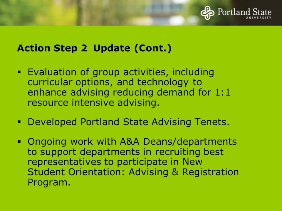 Action Step 2 Update (Cont.)  Evaluation of group activities, including curricular options, and technology to enhance advising reducing demand for 1:1 resource intensive advising.