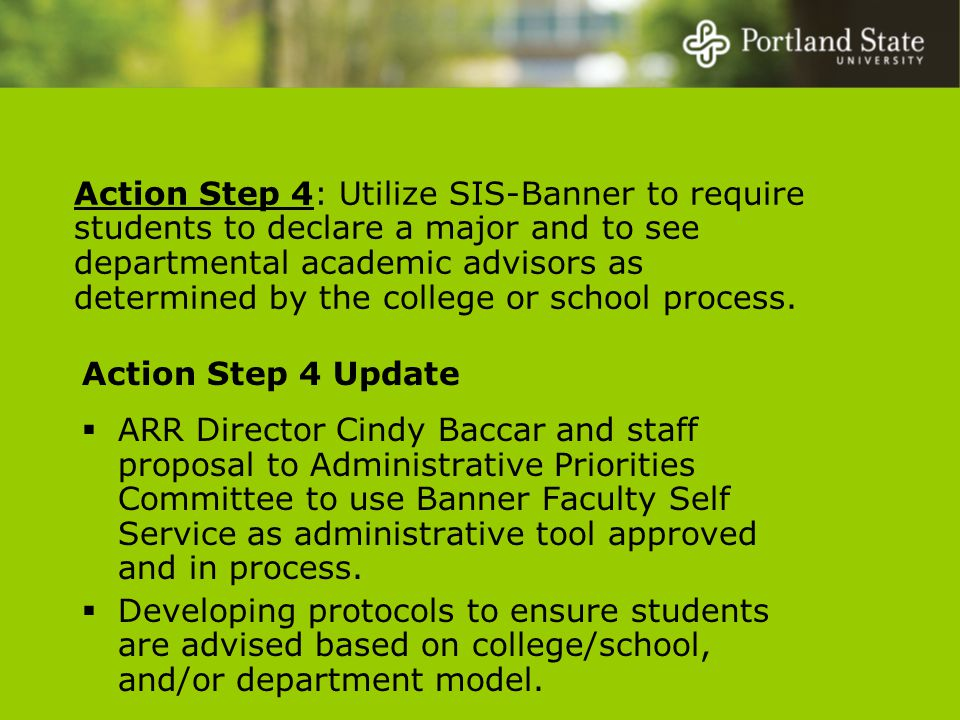 Action Step 4: Utilize SIS-Banner to require students to declare a major and to see departmental academic advisors as determined by the college or school process.