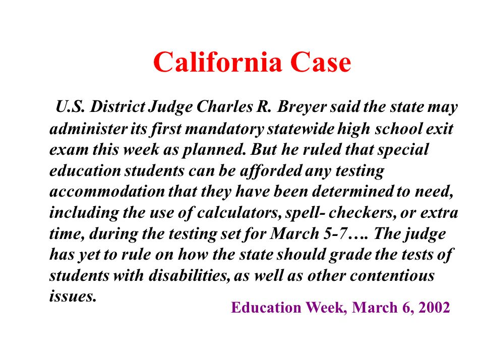 California Case U.S. District Judge Charles R.