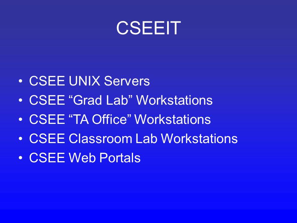 CSEEIT CSEE UNIX Servers CSEE Grad Lab Workstations CSEE TA Office Workstations CSEE Classroom Lab Workstations CSEE Web Portals