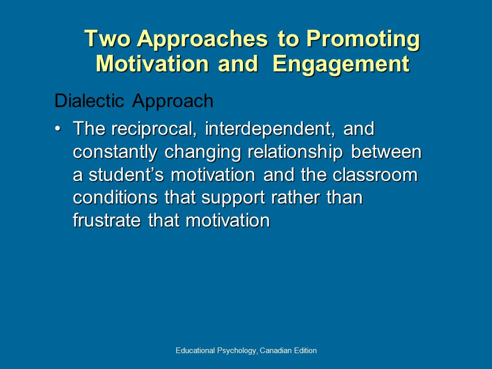 Educational Psychology, Canadian Edition Dialectic Approach The reciprocal, interdependent, and constantly changing relationship between a student's m