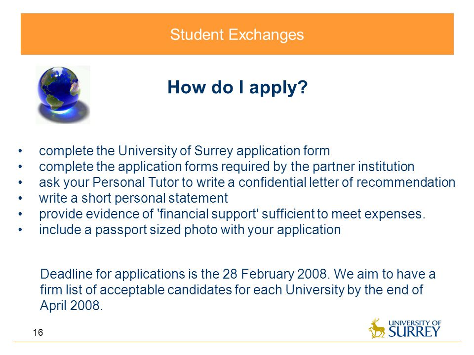 Student Exchanges 16 How do I apply.