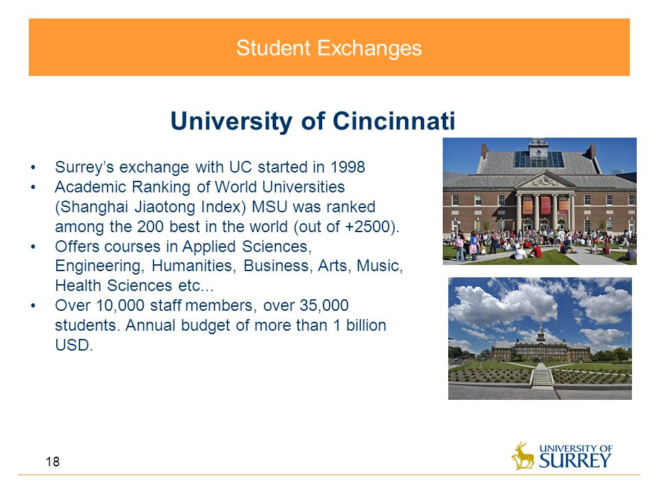 Student Exchanges 18 University of Cincinnati Surrey's exchange with UC started in 1998 Academic Ranking of World Universities (Shanghai Jiaotong Index) MSU was ranked among the 200 best in the world (out of +2500).