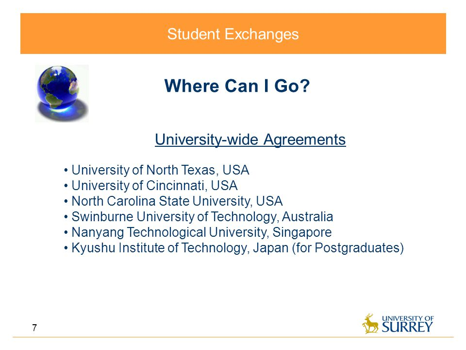 Student Exchanges 7 Where Can I Go.