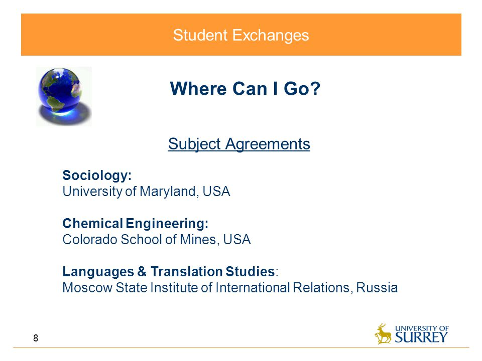 Student Exchanges 8 Where Can I Go.
