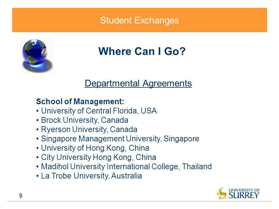 Student Exchanges 9 Where Can I Go.
