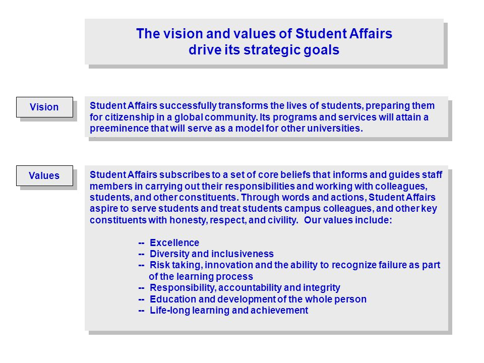 Vision The vision and values of Student Affairs drive its strategic goals Student Affairs successfully transforms the lives of students, preparing the