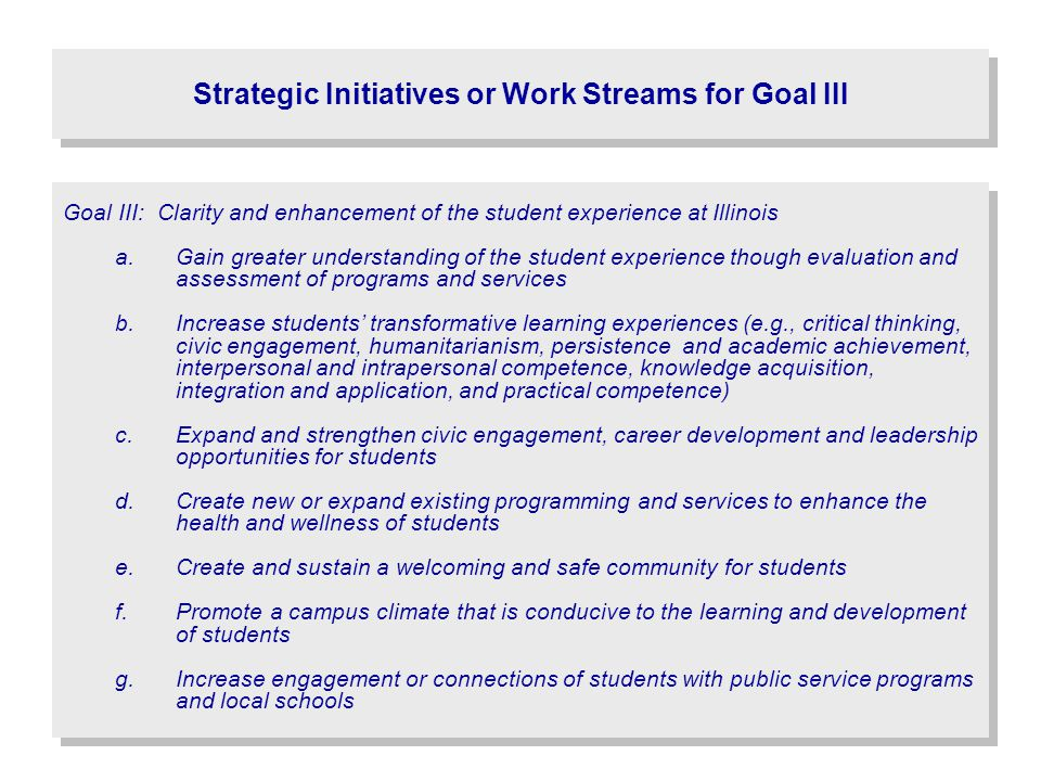 Strategic Initiatives or Work Streams for Goal III Goal III: Clarity and enhancement of the student experience at Illinois a.Gain greater understandin