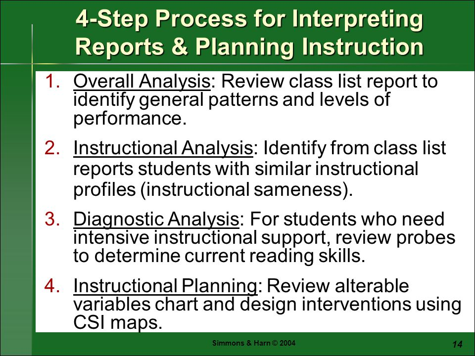 Simmons & Harn © Step Process for Interpreting Reports & Planning Instruction 1.Overall Analysis: Review class list report to identify general patterns and levels of performance.