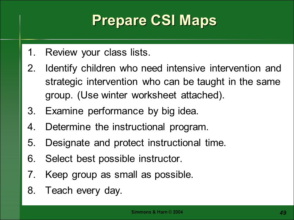 Simmons & Harn © Prepare CSI Maps 1.Review your class lists.