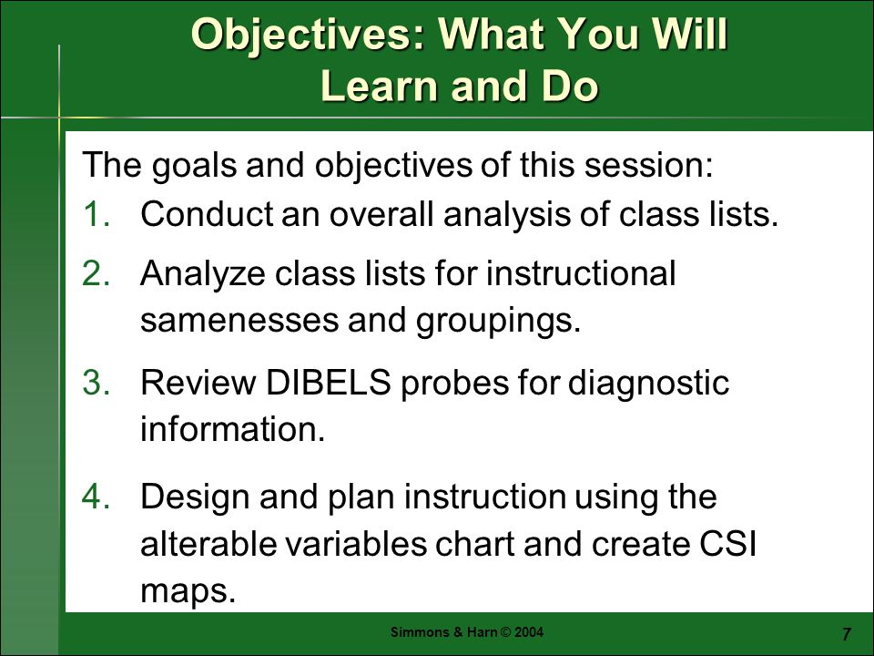 Simmons & Harn © The goals and objectives of this session: 1.Conduct an overall analysis of class lists.