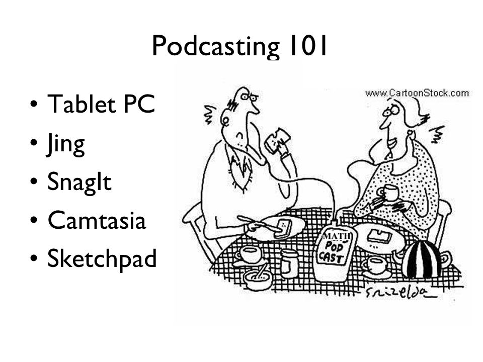 Podcasting 101 Tablet PC Jing SnagIt Camtasia Sketchpad