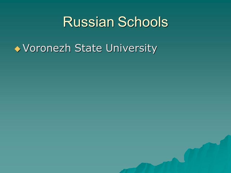 Russian Schools  Voronezh State University