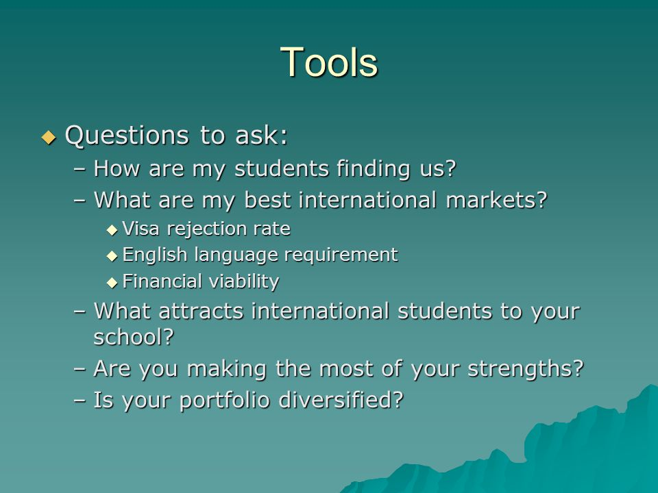 Tools  Questions to ask: –How are my students finding us.