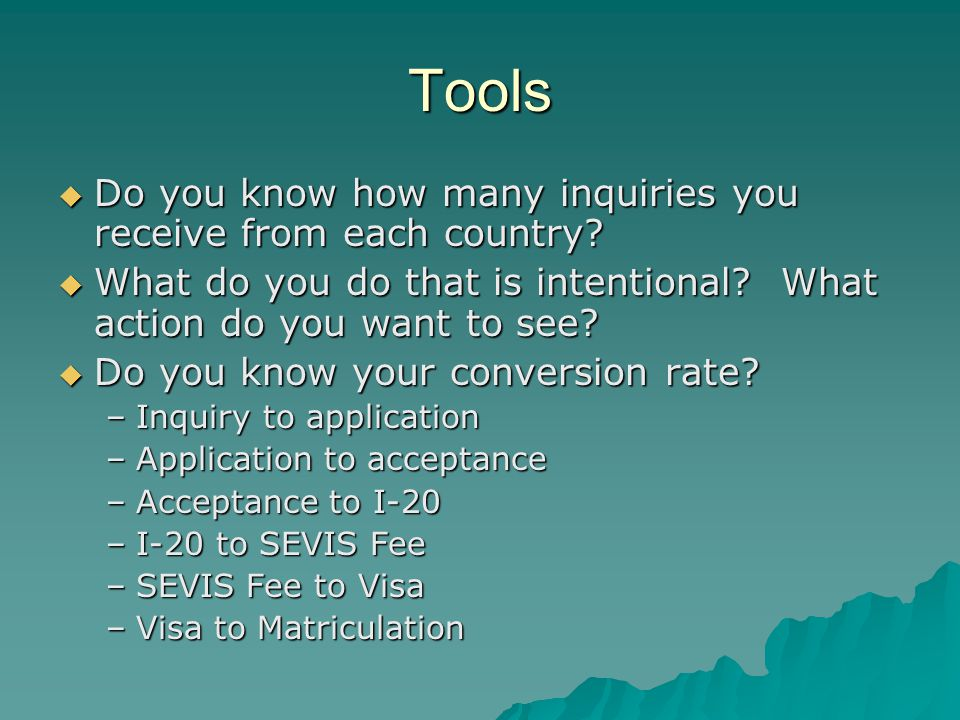 Tools  Do you know how many inquiries you receive from each country.