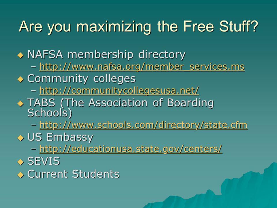 Are you maximizing the Free Stuff.