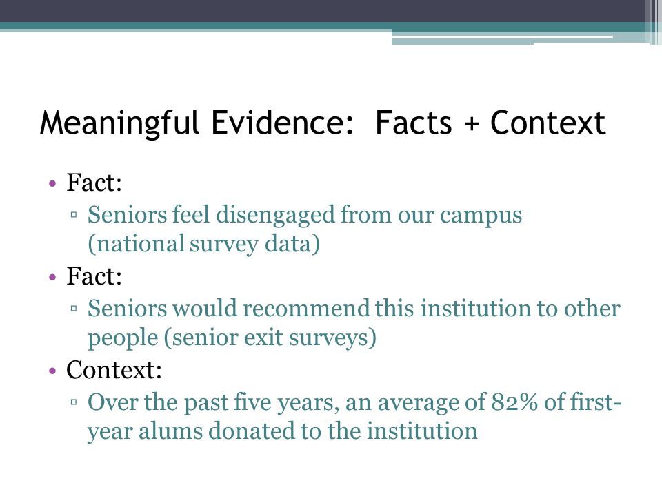 Meaningful Evidence: Facts + Context Fact: ▫Seniors feel disengaged from our campus (national survey data) Fact: ▫Seniors would recommend this institution to other people (senior exit surveys) Context: ▫Over the past five years, an average of 82% of first- year alums donated to the institution