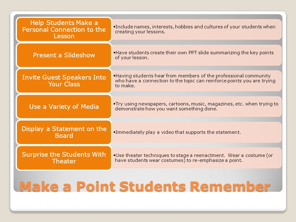 Make a Point Students Remember Include names, interests, hobbies and cultures of your students when creating your lessons.