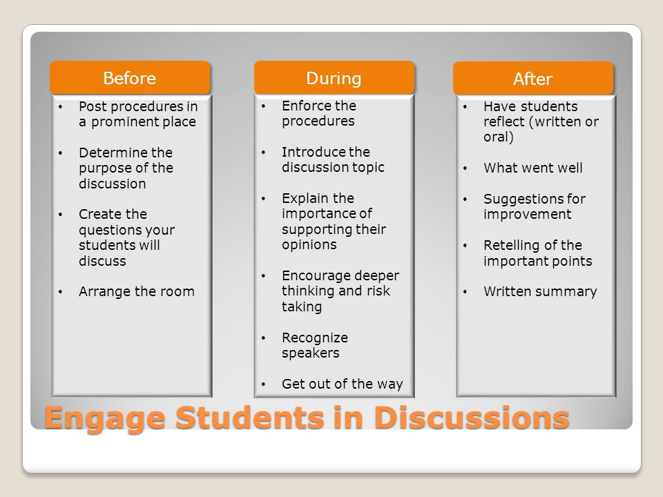 Engage Students in Discussions Before During After Post procedures in a prominent place Determine the purpose of the discussion Create the questions your students will discuss Arrange the room Enforce the procedures Introduce the discussion topic Explain the importance of supporting their opinions Encourage deeper thinking and risk taking Recognize speakers Get out of the way Have students reflect (written or oral) What went well Suggestions for improvement Retelling of the important points Written summary