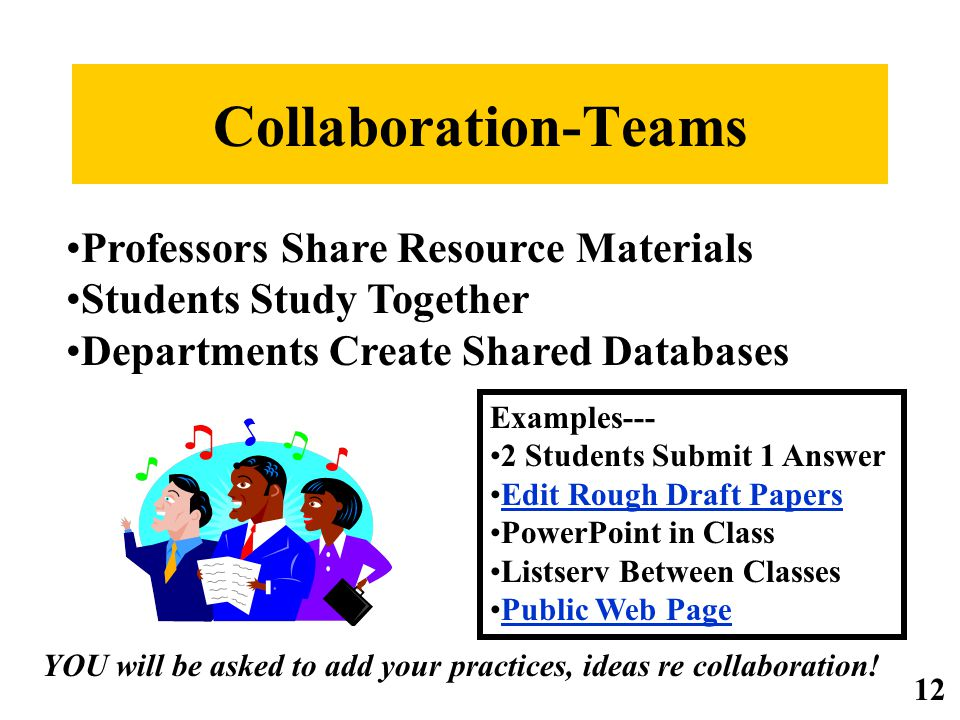 Collaboration-Teams Examples--- 2 Students Submit 1 Answer Edit Rough Draft Papers PowerPoint in Class Listserv Between Classes Public Web Page Professors Share Resource Materials Students Study Together Departments Create Shared Databases YOU will be asked to add your practices, ideas re collaboration.