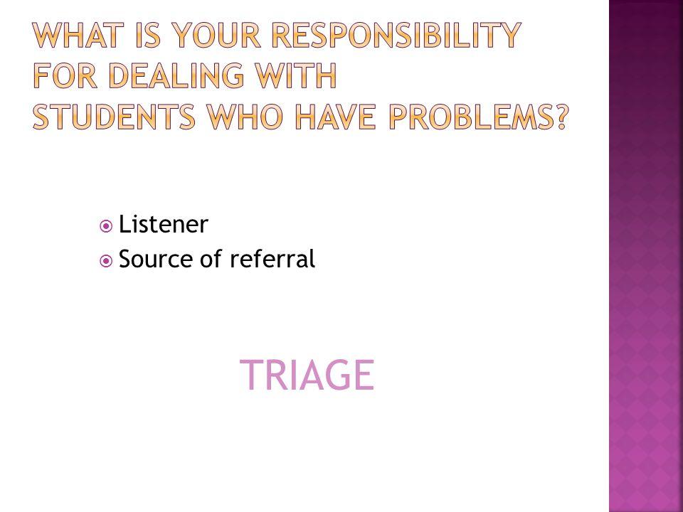  Listener  Source of referral TRIAGE