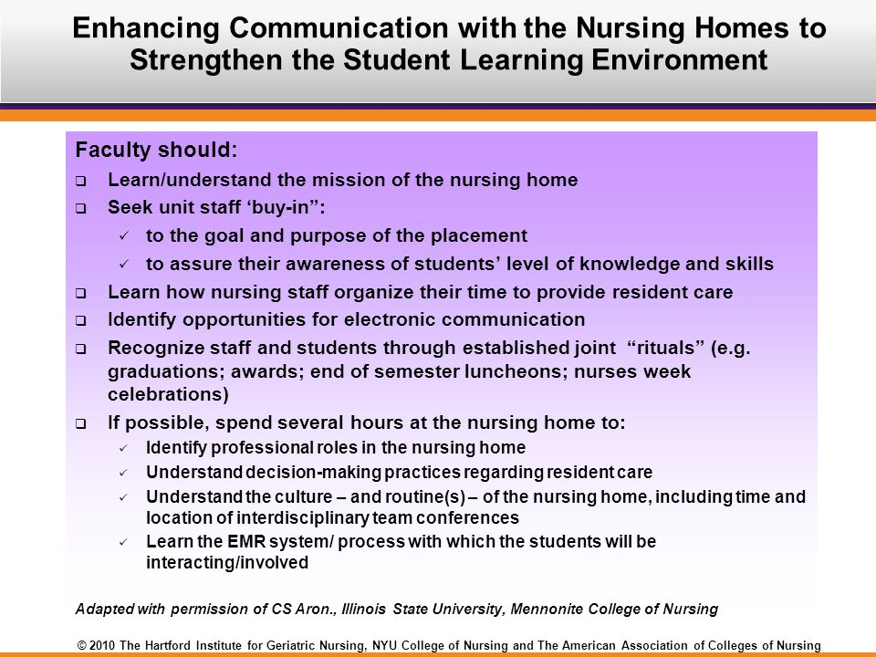 © 2010 The Hartford Institute for Geriatric Nursing, NYU College of Nursing and The American Association of Colleges of Nursing Faculty should:  Learn/understand the mission of the nursing home  Seek unit staff 'buy-in : to the goal and purpose of the placement to assure their awareness of students' level of knowledge and skills  Learn how nursing staff organize their time to provide resident care  Identify opportunities for electronic communication  Recognize staff and students through established joint rituals (e.g.