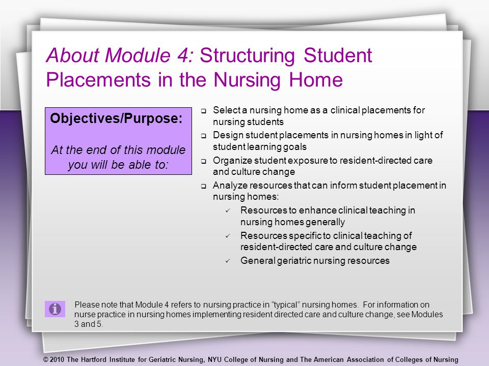 © 2010 The Hartford Institute for Geriatric Nursing, NYU College of Nursing and The American Association of Colleges of Nursing About Module 4: Structuring Student Placements in the Nursing Home  Select a nursing home as a clinical placements for nursing students  Design student placements in nursing homes in light of student learning goals  Organize student exposure to resident-directed care and culture change  Analyze resources that can inform student placement in nursing homes: Resources to enhance clinical teaching in nursing homes generally Resources specific to clinical teaching of resident-directed care and culture change General geriatric nursing resources Objectives/Purpose: At the end of this module you will be able to: Please note that Module 4 refers to nursing practice in typical nursing homes.