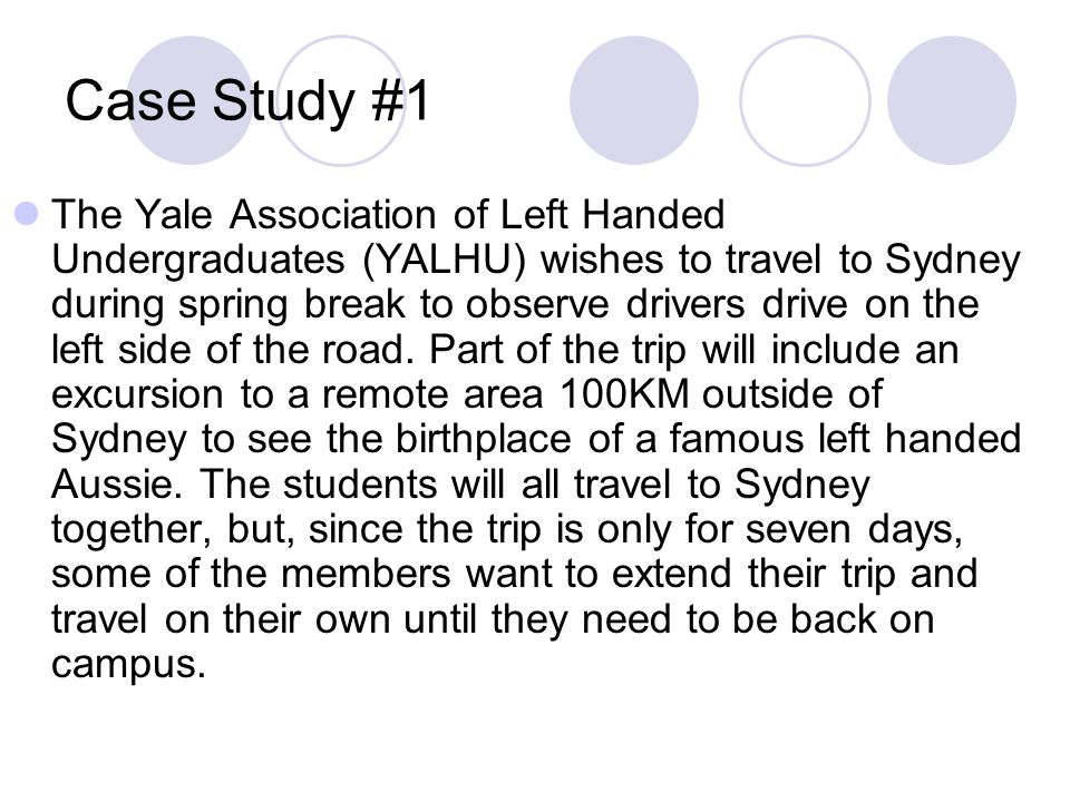 Case Study #1 The Yale Association of Left Handed Undergraduates (YALHU) wishes to travel to Sydney during spring break to observe drivers drive on th