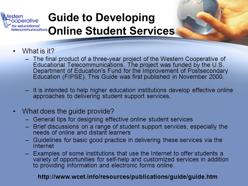 Guide to Developing Online Student Services What is it.