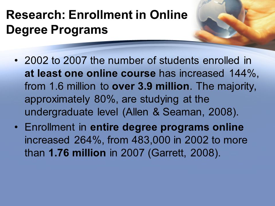 Research: Enrollment in Online Degree Programs 2002 to 2007 the number of students enrolled in at least one online course has increased 144%, from 1.6 million to over 3.9 million.