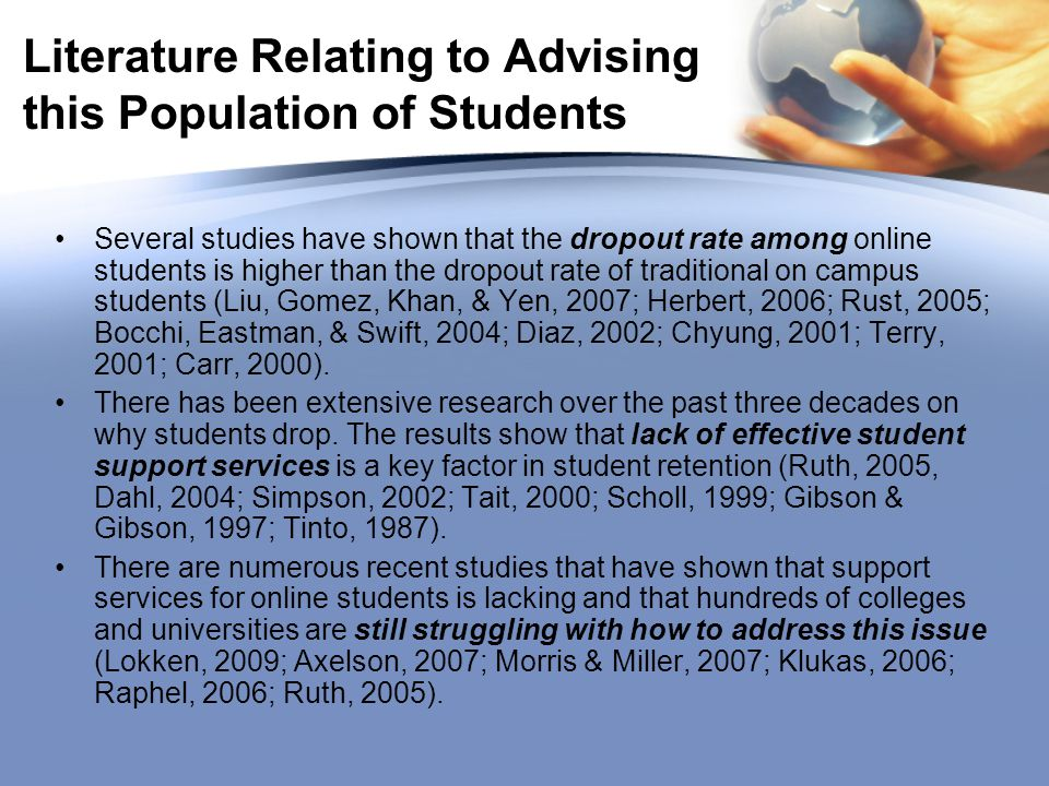 Literature Relating to Advising this Population of Students Several studies have shown that the dropout rate among online students is higher than the dropout rate of traditional on campus students (Liu, Gomez, Khan, & Yen, 2007; Herbert, 2006; Rust, 2005; Bocchi, Eastman, & Swift, 2004; Diaz, 2002; Chyung, 2001; Terry, 2001; Carr, 2000).