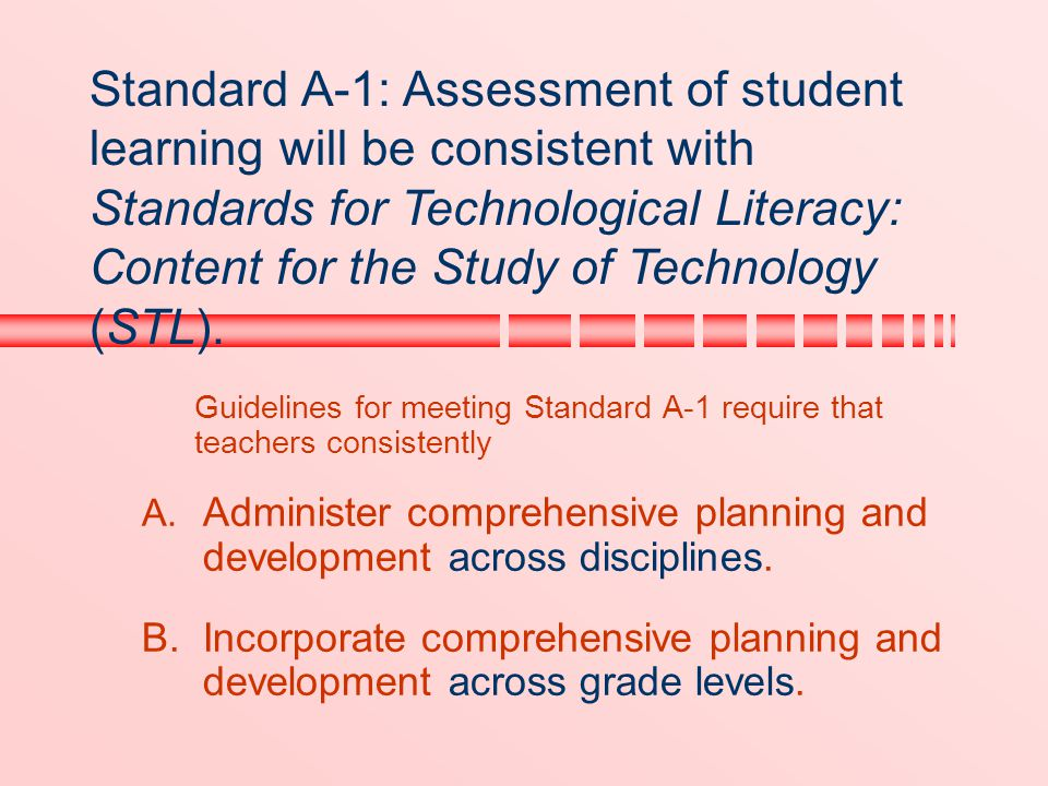 Guidelines for meeting Standard A-1 require that teachers consistently A. Administer comprehensive planning and development across disciplines. B.Inco