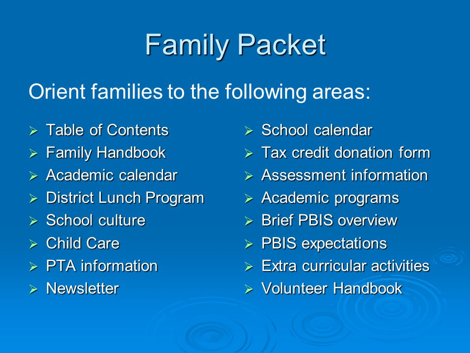 Family Packet  Table of Contents  Family Handbook  Academic calendar  District Lunch Program  School culture  Child Care  PTA information  Newsletter  School calendar  Tax credit donation form  Assessment information  Academic programs  Brief PBIS overview  PBIS expectations  Extra curricular activities  Volunteer Handbook Orient families to the following areas:
