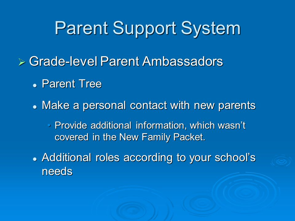 Parent Support System  Grade-level Parent Ambassadors Parent Tree Parent Tree Make a personal contact with new parents Make a personal contact with new parents Provide additional information, which wasn't covered in the New Family Packet.Provide additional information, which wasn't covered in the New Family Packet.