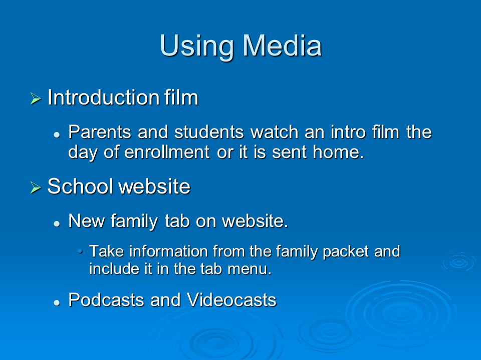 Using Media  Introduction film Parents and students watch an intro film the day of enrollment or it is sent home.