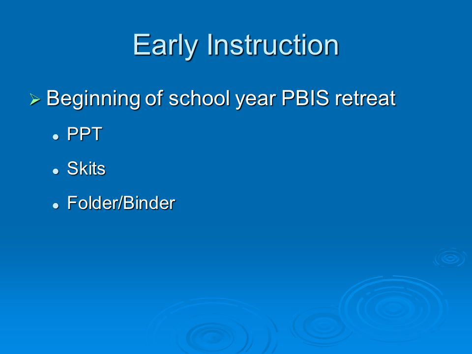 Early Instruction  Beginning of school year PBIS retreat PPT PPT Skits Skits Folder/Binder Folder/Binder