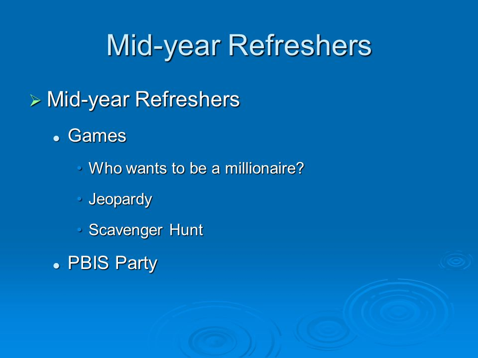Mid-year Refreshers  Mid-year Refreshers Games Games Who wants to be a millionaire Who wants to be a millionaire.